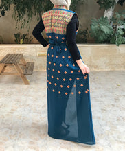 Blue Embroidered Palestinian Sleevless Abaya