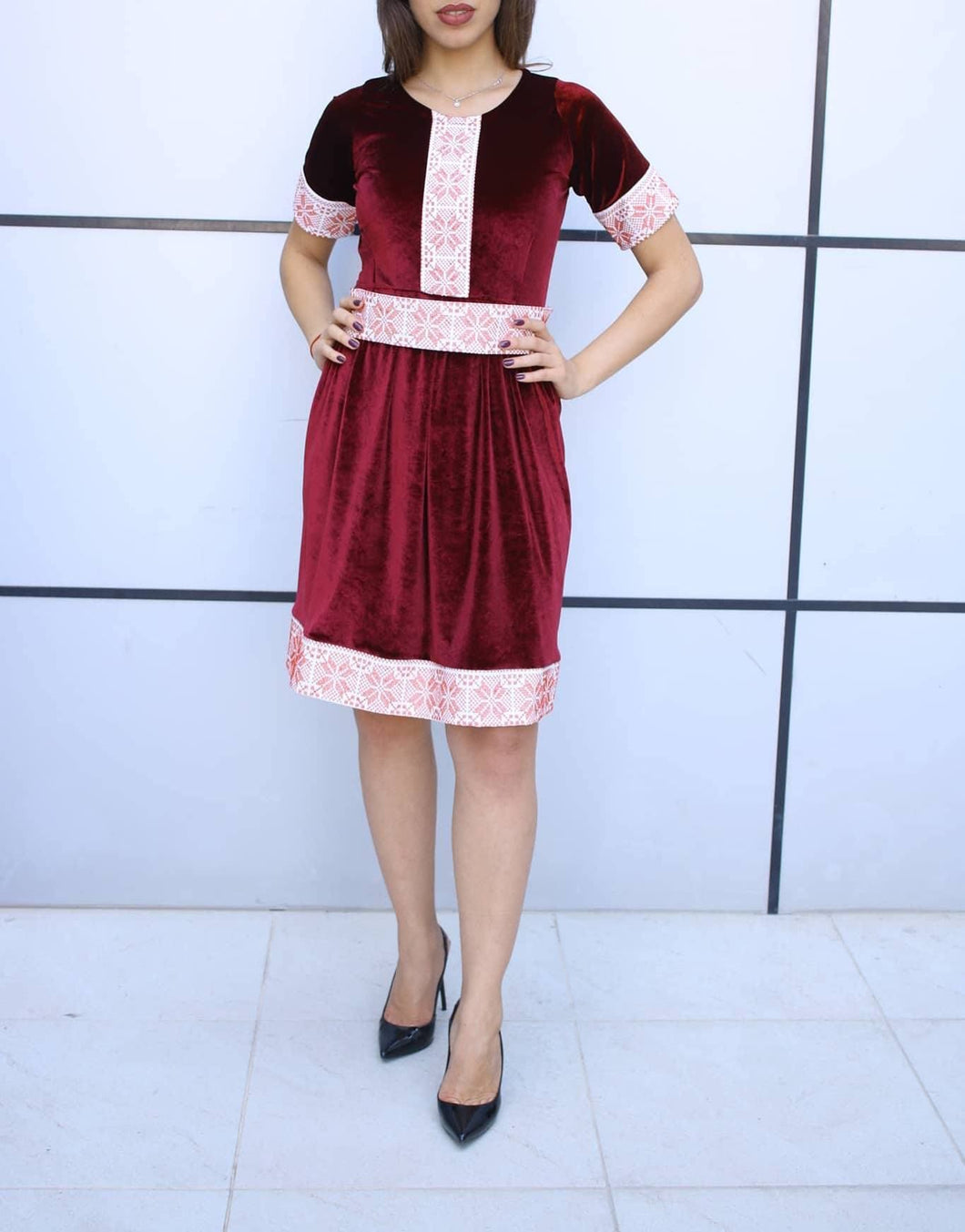 Stylish Red Velvet Short Dress With Beautiful Embroidery
