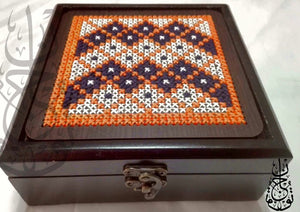 Small wooden embroidered two colored box - Falastini Brand