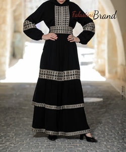 Soft Legendary Palestinian Embroidered Ruffled Abaya Off white