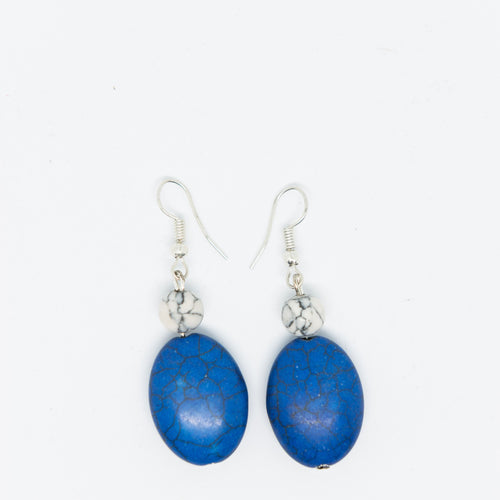 Handmade earrings with white and blue beads - Falastini Brand