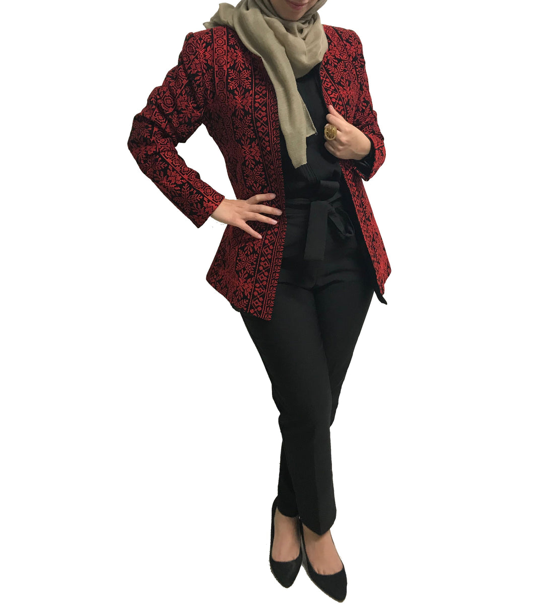 Elegant Embroidered Black Jacket Long Sleeve Palestinian Red Embroidery