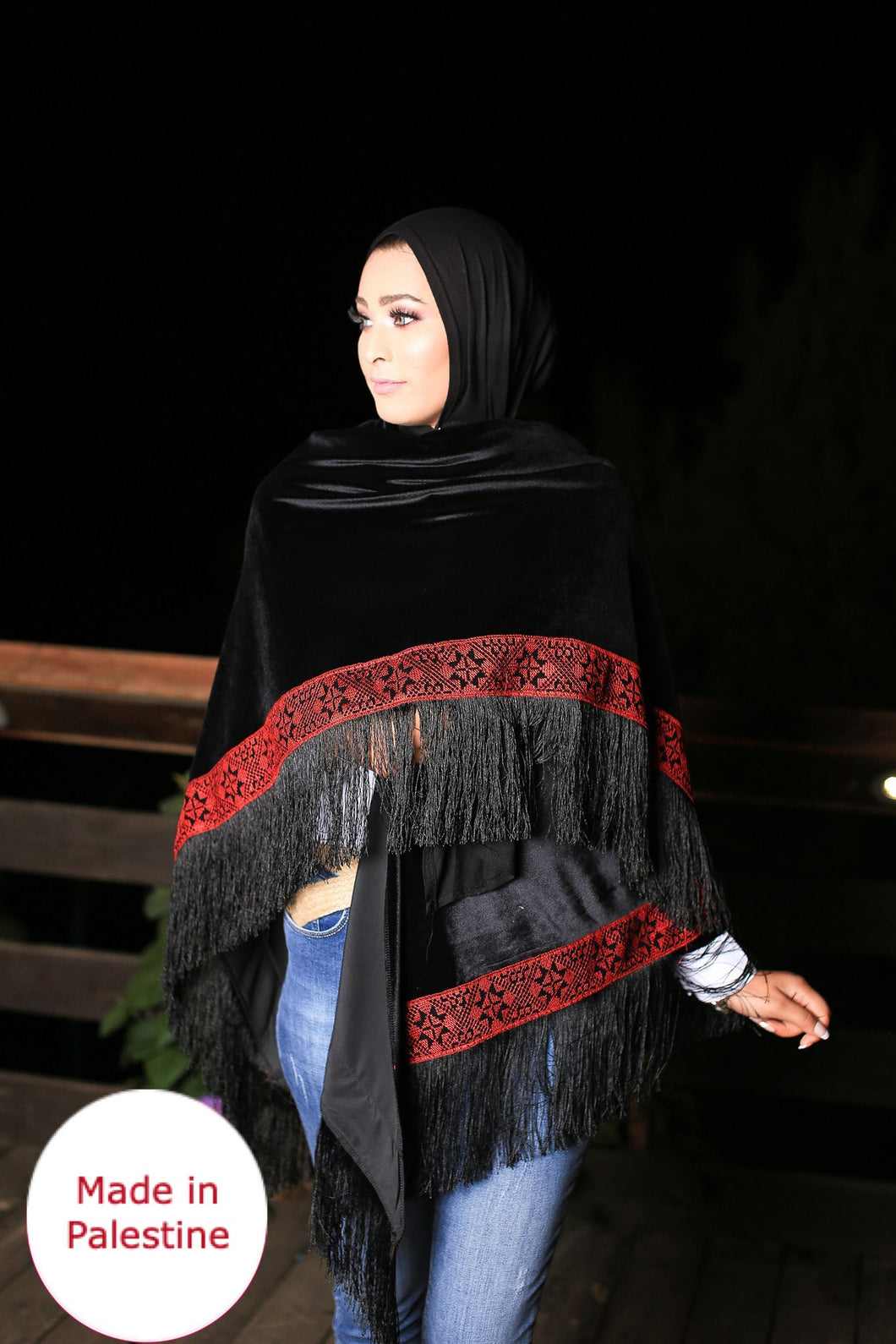 Palestinian Black Velvet Embroidered Shoulder Shawl