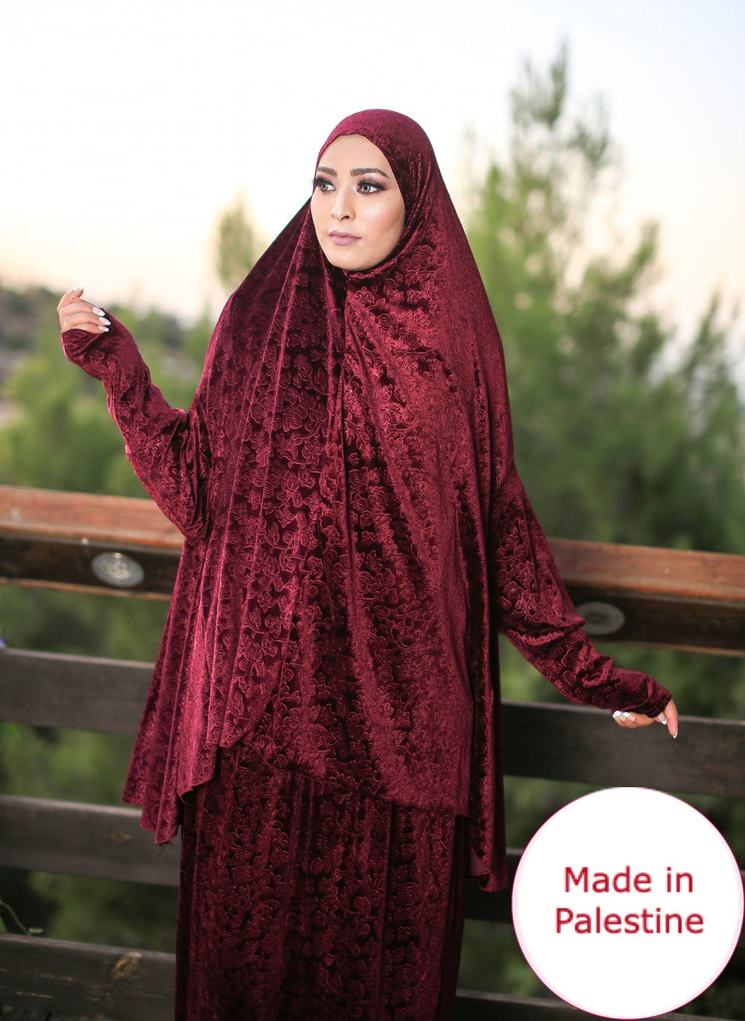 Free Size Frill Red Smooth Velvet Prayer Dress Hijab Scarf Islamic Abaya Prayer Clothes