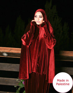 Free Size Red Smooth Velvet Prayer Dress Hijab Scarf Islamic Abaya Prayer Clothes