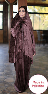 Free Size Garnish Smooth Velvet Prayer Dress Hijab Scarf Islamic Abaya Prayer Clothes