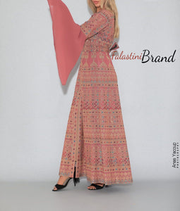 Version 5 Peach Palestinian Queen Thobe Embroidered Dress Long Sleeve Palestinian Design And Embroidery