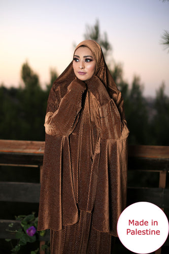 Free Size Shiny Golden Smooth Velvet Prayer Dress Hijab Scarf Islamic Abaya Prayer Clothes