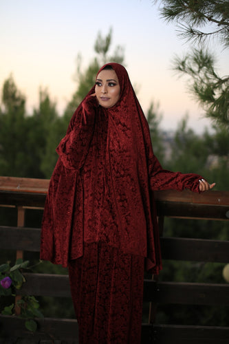 Free Size Garnish Red Smooth Velvet Prayer Dress Hijab Scarf Islamic Abaya Prayer Clothes