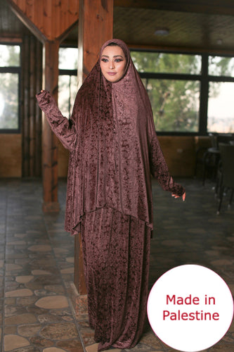 Free Size Frill Smooth Velvet Prayer Dress Hijab Scarf Islamic Abaya Prayer Clothes