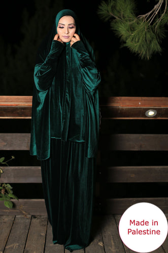 Free Size Green Smooth Velvet Prayer Dress Hijab Scarf Islamic Abaya Prayer Clothes