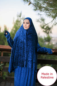 Free Size Frill Blue Smooth Velvet Prayer Dress Hijab Scarf Islamic Abaya Prayer Clothes