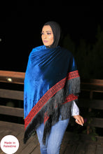 Palestinian Blue Velvet Embroidered Shoulder Shawl