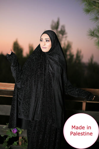 Free Size Shiny Black Smooth Velvet Prayer Dress Hijab Scarf Islamic Abaya Prayer Clothes