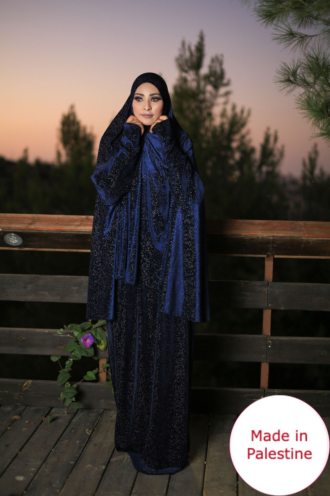 Free Size Shiny Navy Smooth Velvet Prayer Dress Hijab Scarf Islamic Abaya Prayer Clothes