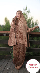 Free Size Frill Brown Smooth Velvet Prayer Dress Hijab Scarf Islamic Abaya Prayer Clothes