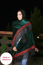 Palestinian Green Velvet Embroidered Shoulder Shawl
