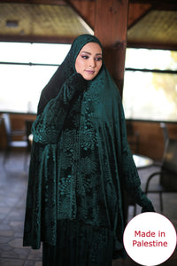 Free Size Garnish Green Smooth Velvet Prayer Dress Hijab Scarf Islamic Abaya Prayer Clothes
