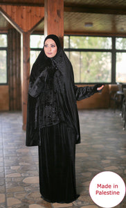 Free Size Garnish Black Smooth Velvet Prayer Dress Hijab Scarf Islamic Abaya Prayer Clothes