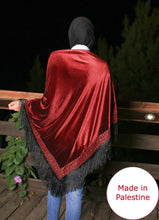 Palestinian Red Velvet Embroidered Shoulder Shawl