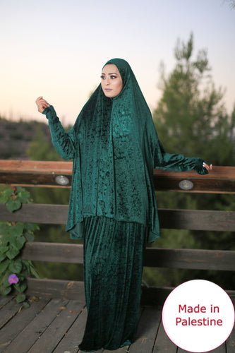 Free Size Frill Green Smooth Velvet Prayer Dress Hijab Scarf Islamic Abaya Prayer Clothes