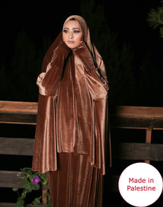 Free Size Brown Smooth Velvet Prayer Dress Hijab Scarf Islamic Abaya Prayer Clothes