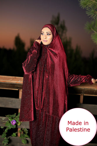Free Size Shiny Maroon Smooth Velvet Prayer Dress Hijab Scarf Islamic Abaya Prayer Clothes
