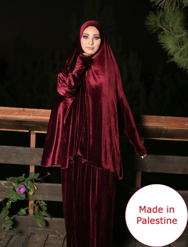Free Size Maroon Smooth Velvet Prayer Dress Hijab Scarf Islamic Abaya Prayer Clothes