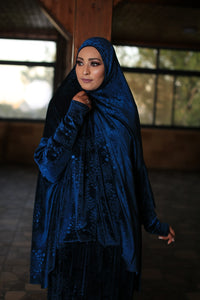 Free Size Garnish Blue Smooth Velvet Prayer Dress Hijab Scarf Islamic Abaya Prayer Clothes