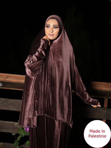 Free Size Smooth Velvet Prayer Dress Hijab Scarf Islamic Abaya Prayer Clothes