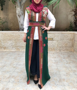 Amazing Green Long Embroidered Palestinian Vest Sleeveless Abaya