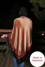 Palestinian Brown Velvet Embroidered Shoulder Shawl