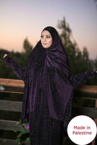 Free Size Shiny Purple Smooth Velvet Prayer Dress Hijab Scarf Islamic Abaya Prayer Clothes