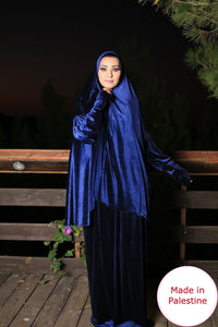 Free Size Navy Smooth Velvet Prayer Dress Hijab Scarf Islamic Abaya Prayer Clothes