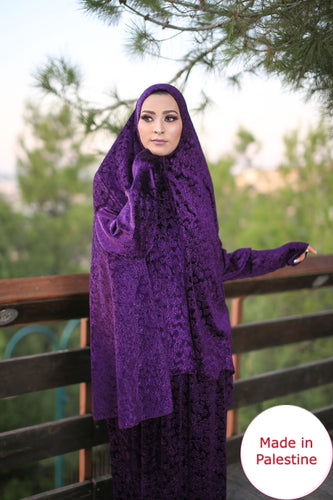 Free Size Frill Purple Smooth Velvet Prayer Dress Hijab Scarf Islamic Abaya Prayer Clothes