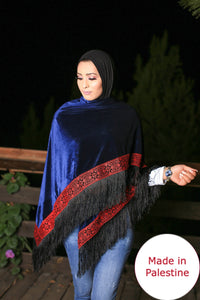 Palestinian Navy Velvet Embroidered Shoulder Shawl
