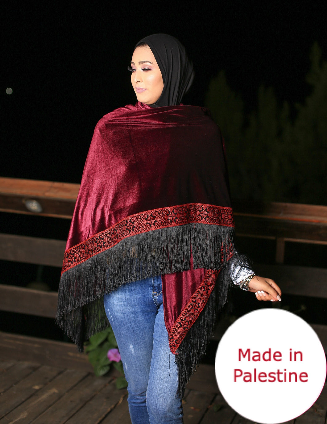 Palestinian Maroon Velvet Embroidered Shoulder Shawl