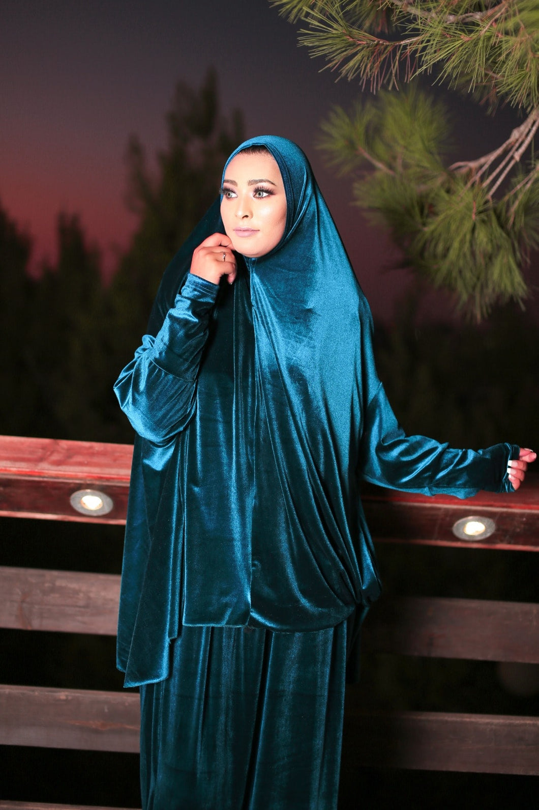 Free Size Turquoise Smooth Velvet Prayer Dress Hijab Scarf Islamic Abaya Prayer Clothes