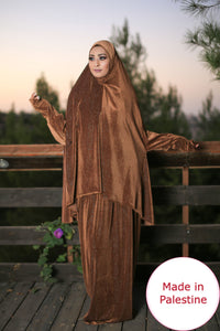 Free Size Shiny Brown Smooth Velvet Prayer Dress Hijab Scarf Islamic Abaya Prayer Clothes