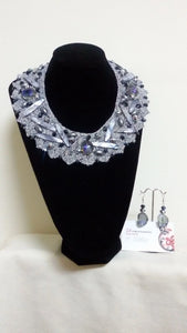 Handmade Silver Neck Collar And Earrings With Silver Crochet