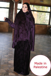 Free Size Garnish Purple Smooth Velvet Prayer Dress Hijab Scarf Islamic Abaya Prayer Clothes