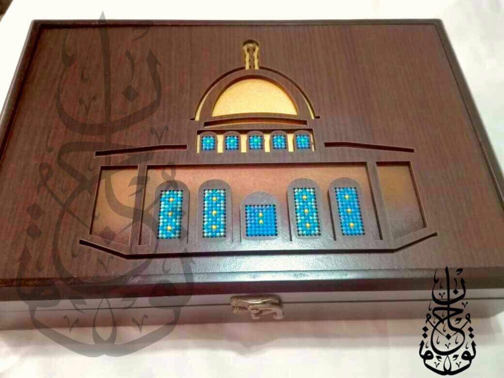 Wooden Dome of the Rock embroided box with copper - Falastini Brand