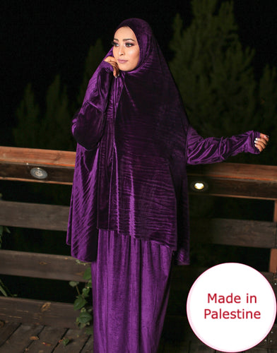 Free Size Purple Smooth Velvet Prayer Dress Hijab Scarf Islamic Abaya Prayer Clothes