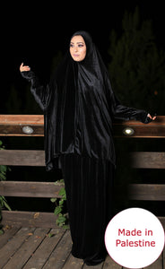 Free Size Black Smooth Velvet Prayer Dress Hijab Scarf Islamic Abaya Prayer Clothes