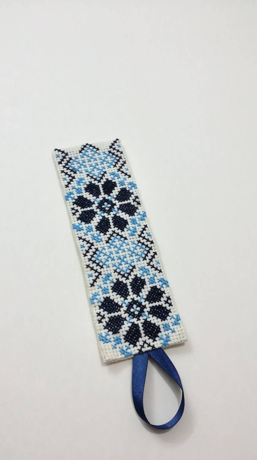 White bookmark with blue and black embroidery - Falastini Brand