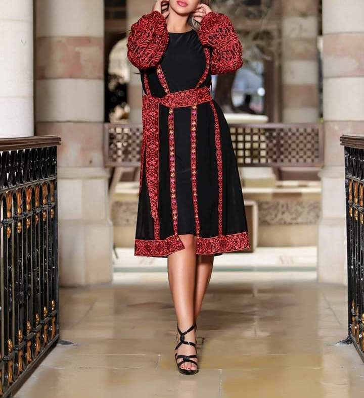 2 Pieces Black Palestinian Short Dress With Palestinian Embroidery Long Puff Sleeves