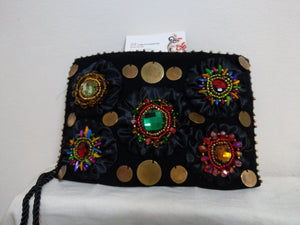 Gorgeous Handmade Small Purse Decorated With Satin Fabric Flowers