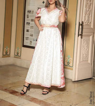 Gorgeous White Long Dress Short Sleeve Embroidered Back