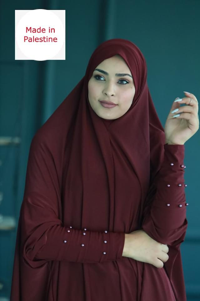 Free Size Two Pieces Maroon Pearl Arms Prayer Dress Hijab Scarf Islamic Abaya Soft Prayer Clothes