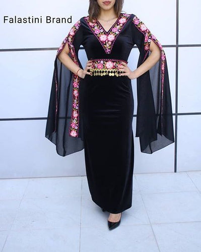 Stunning Black Velvet Lycra Floral Embroidered Long Dress Split Sleeve